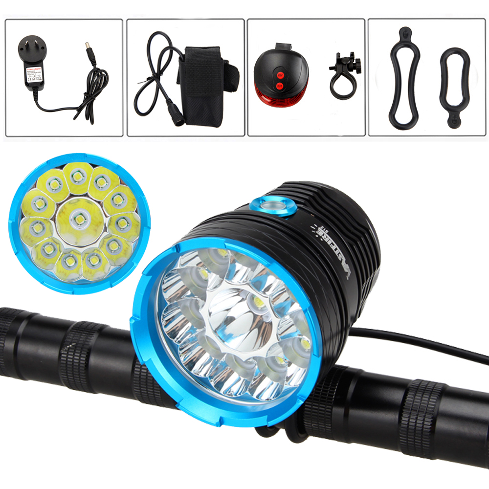 Front Bike Lamp 40000lm LED Bicycle Light 12x XM-L T6 LED Headlight +20000mAh Battery Charger+ Laser Rear Light cree xm l t6 bicycle light 6000lumens bike light 7modes torch zoomable led flashlight 18650 battery charger bicycle clip