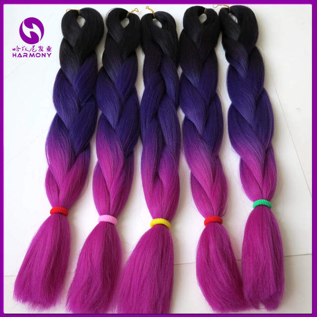 Us 55 96 10pcs Lot 24 Black Purple Pink Color Ombre Kanekalon Braiding Hair Synthetic Hair Weaving Braiding Hair Three Tone Jumbo Braid On