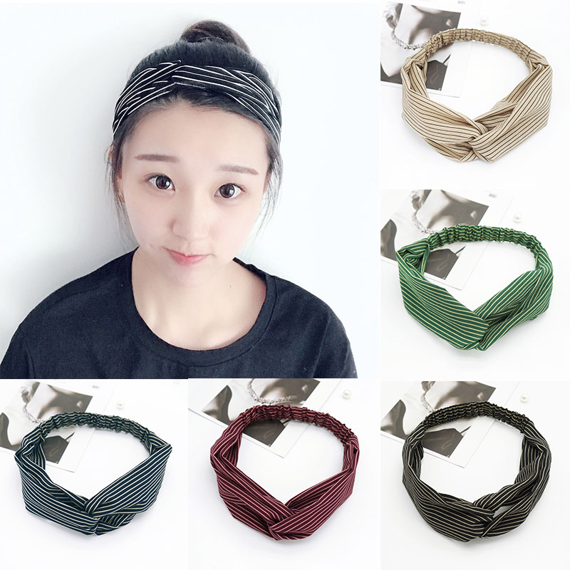 Hot Sale 1PC 2018 New Arrival 6 Colors Elastic Unique High Quality Trendy Version Striped Bow Cloth Knited Hairband Gifts