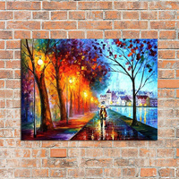 100%Handpainted Knife Oil Paintings Leonid City Couple Umbrella Unique Gift On Canvas Home Decor Wall Pictures For Living Room