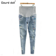Gourd doll Maternity pregnancy jeans overalls pants for pregnant women Elastic waist jeans pregnant pregnancy overalls clothes