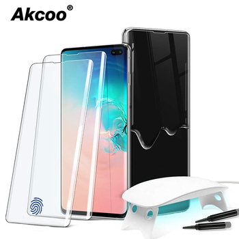 Akcoo S10 tempered glass screen protector with BIG UV Lamp for Samsung Galaxy S8 9 10 Plus UV Glass for Note 8 9 10 Plus glass