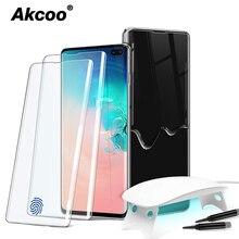 Akcoo S10 واقي للشاشة من الزجاج المقسى مع مصباح كبير للأشعة فوق البنفسجية لسامسونج غالاكسي S8 9 10 Plus الأشعة فوق البنفسجية للزجاج نوت 8 9 10 Plus