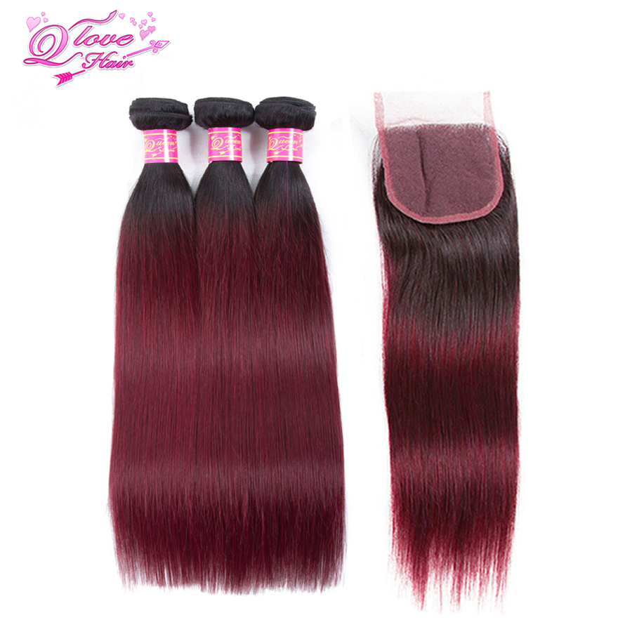 Queen Love Hair Pre colored Straight Human Hair Bundles with Closure 1b 99j Non remy Ombre