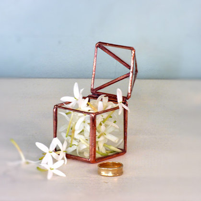 Micro Glass Box Wedding Ring Box Hinged Lidded A Classic Glass