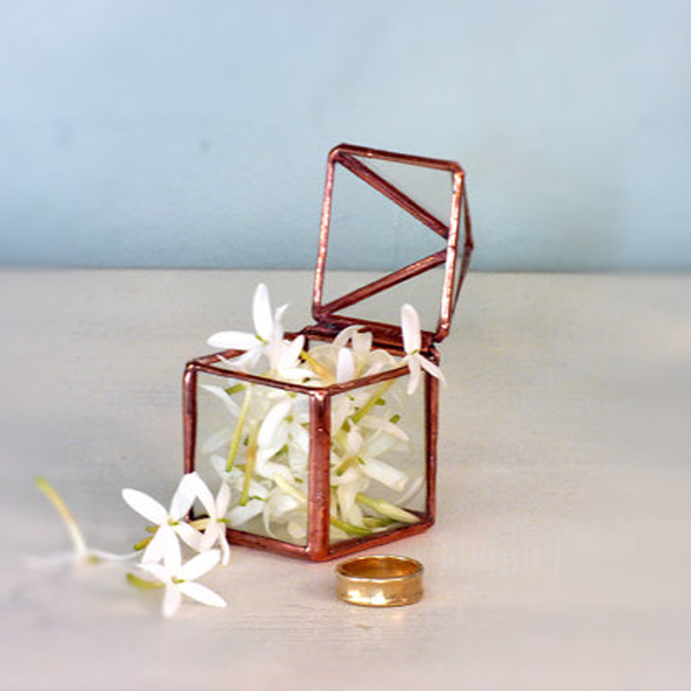 Micro Glass Box, Wedding Ring Box, Hinged & Lidded A Classic Glass Box