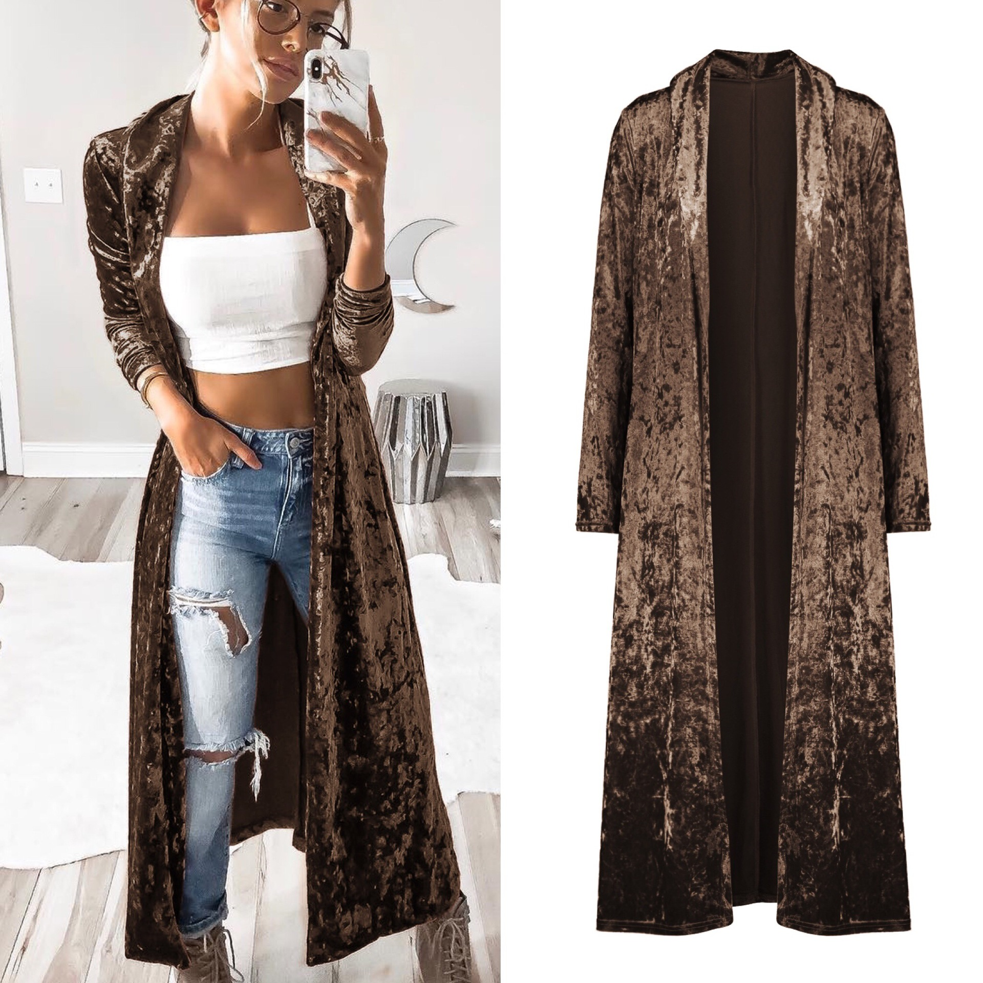 Style style open stitch velvet solid long woman   trench   trend street wear spring and autumn wide-waist female velvet coats