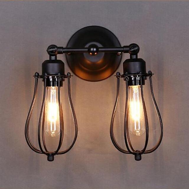RH Loft Vintage Industria Lustre Double Tête Mur Applique Lampe ...