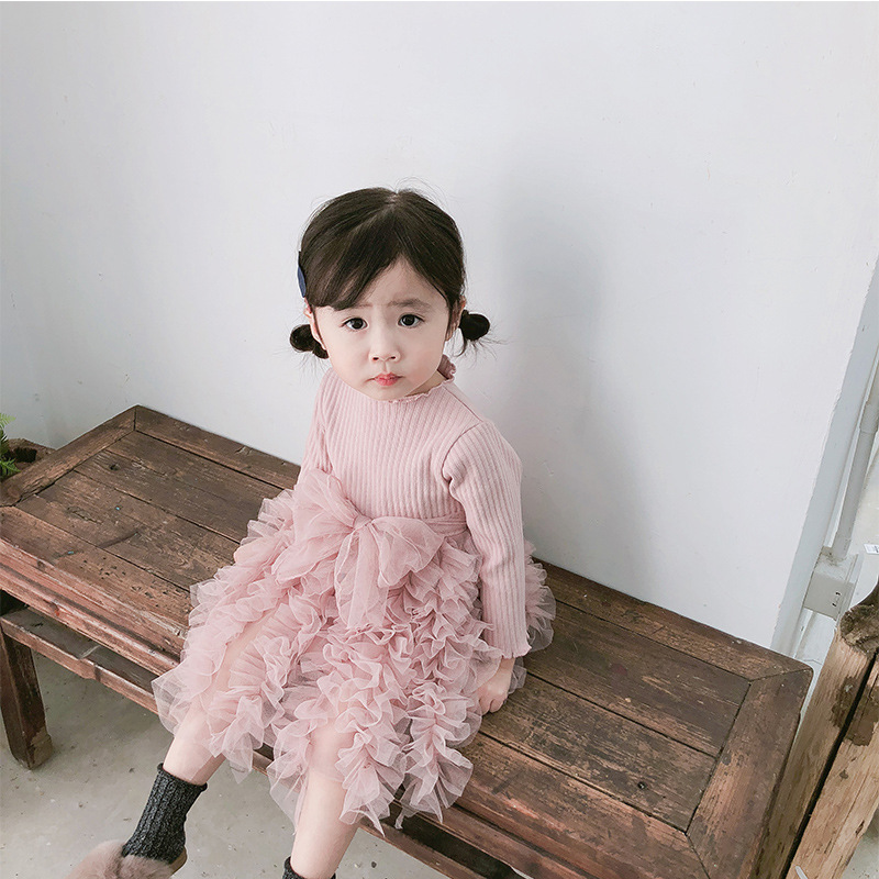 2019 Cotton Long Sleeve Knitted Kids Dresses For Girls Toddler Clothing Baby Girl Drees Tulle Patchwork Grey Pink White Spring 11