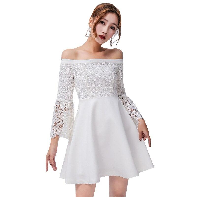 2019 printemps été robes femme blanc Sexy & club évidé dentelle Patchwork corne manches Mini court femmes robe a-ligne L004