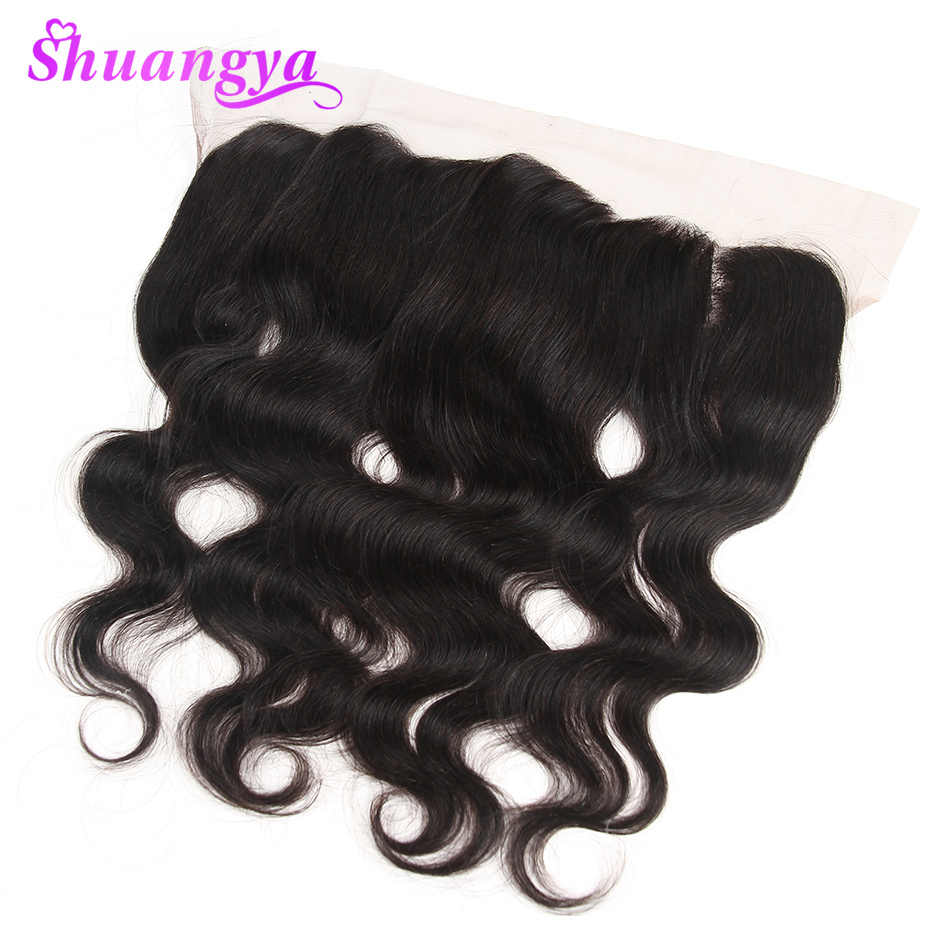 "Body Wave Lace Frontal Closure 13x4/13x6 Free/Middle Part Lace Frontal 130% Density Remy 100% Human Hair 10""-20"" Shuangya Hair"