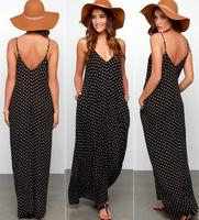 JOYINPARTY On Sale Fashion Black Summer Boho Dress Beach Wear Sleeveless Chiffon Dress Dot Ladies Long