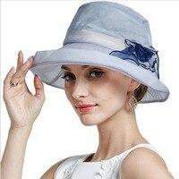Women Fashion Summer Silk Sun Hat Wide Brim Floral Hats Flowers Floppy Visors Female Elegant Sea Beach Caps Sun Protective Hat