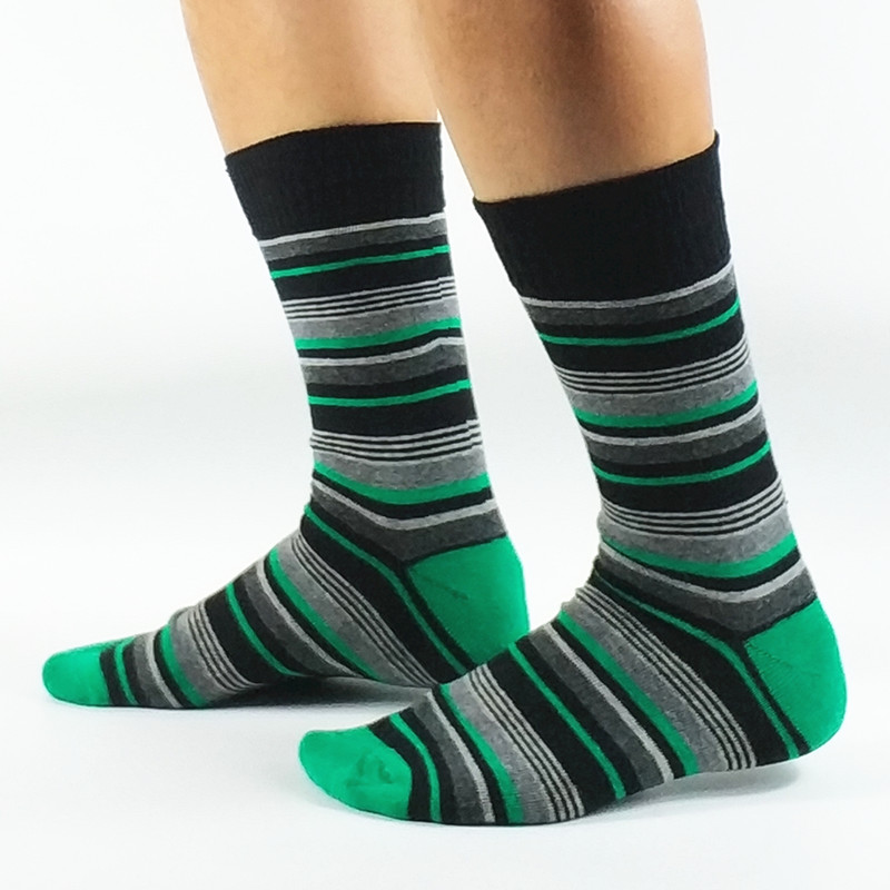 3 Pack Mens Colorful Strip Casual Dress Socks USA Size 8-11 ,Euro Size 41-44 (Thin Material)