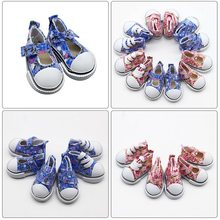 2018 New Assorted Colors 5cm Printing Cowboy Blue Mini Doll Sneakers Boots For 1/6 Doll Accessories(China)
