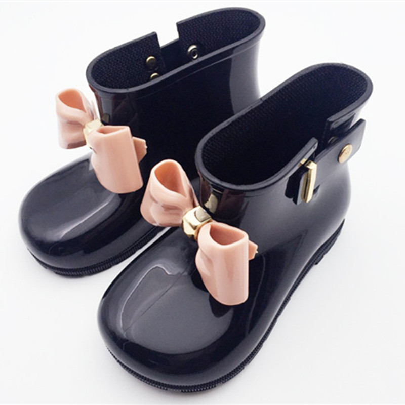 Waterproof Kids Spring Autumn baby girls Rain Boots Warm Beauty Bow Rainboots Fashion soft Rubber Shoes Toddler Kids Jelly shoes