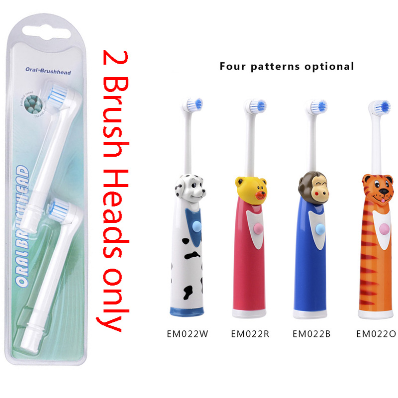 2 Pcs Electric Tooth brush Heads Replacement for Children Toothbrush Heads Massage for Cartoon Teeth Brush Soft Care Deep Clean 2pcs philips sonicare replacement e series electric toothbrush head with cap