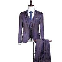 Purple Striped Suit Men 3 Pcs Slim Fit Prom Custom Made Stage Wedding Suits For Men