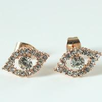 Fashion Evil Eye Heart Crystal Stud Earrings For Women Girls Brand Jewelry Brincos Pendientes Mujer Moda Joyeria Marcas Famosas