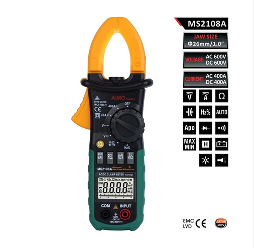 Digital Multimeter Amper Clamp Meter MS2108A Clamp Pincers AC/DC Current Voltage Capacitor Resistance Tester clamp multimeter dt3266l lcd display digital multimeter handle ac voltage current resistance tester dt3266l multimeter tester