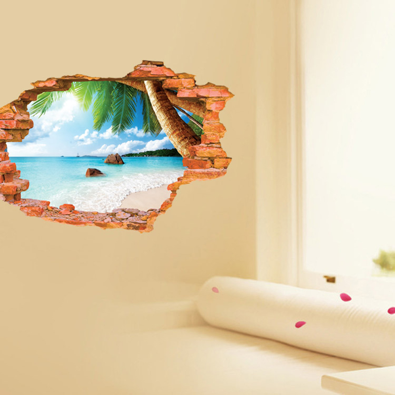 3D Window Beach Wall Sticker Exotic Landscape Art Paper Room ...