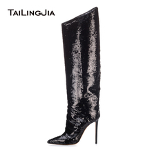 Pointed Toe High Heel Black Sequinned Knee Boots Women Sequins Stiletto Heel Long Boots Stylish Ladies Winter heeled Shoes 2018 цена 2017