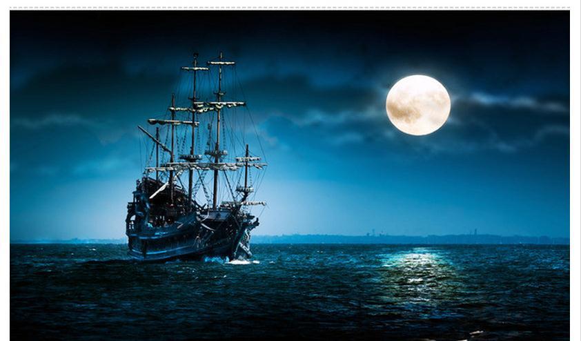Custom 3d photo wallpaper 3d wall murals wallpaper sailboat moonlight beauty scenery background ...