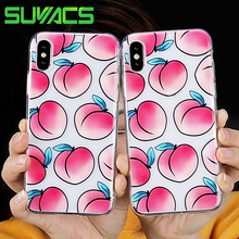 0df707709f3 SUYACS para iPhone 5 5S SE 6 6 S 7 8 Plus X funda múltiples melocotones TPU  Gel suave caja de de goma transparente claro teléfon.