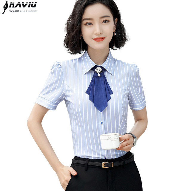 a25a404e56139 Fashion elegant bow tie Women shirt OL Summer formal short sleeve slim  chiffon stripe blouse office ladies plus size work tops