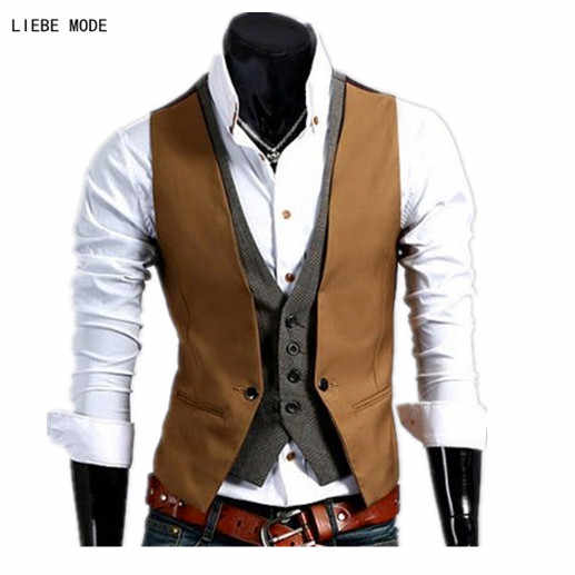 Formal Waistcoat Mens Work Sleeveless Jacket Men Slim Fit Faux Two Pieces Vests For Men Sleeveless Blazer Vest Male Black Brown