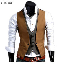 Mens Slim Fit Work Vest Sleeveless Jacket Black Brown Faux Two Pieces Vests With Pockets Fashion Casual Waistcoats