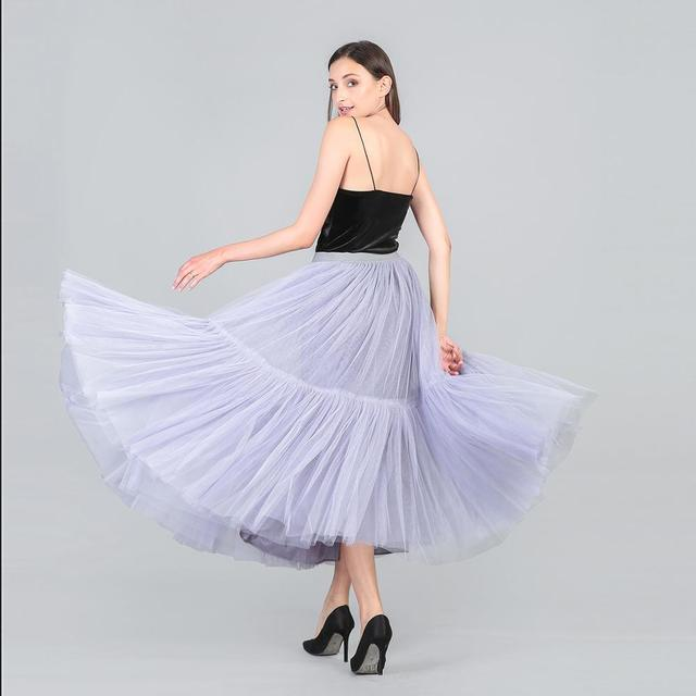 3 Colors 90 cm Runway Luxury Soft Tulle Skirt Hand-made Maxi Long Pleated Skirts Womens Vintage Petticoat Voile Jupes Falda 6