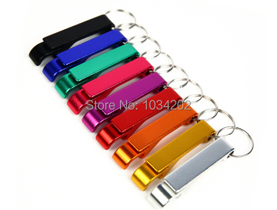 Hot Sell Portable Aluminum Alloy Key Ring Keychain Bottle Opener Beer Opener Multi Color Free Shipping