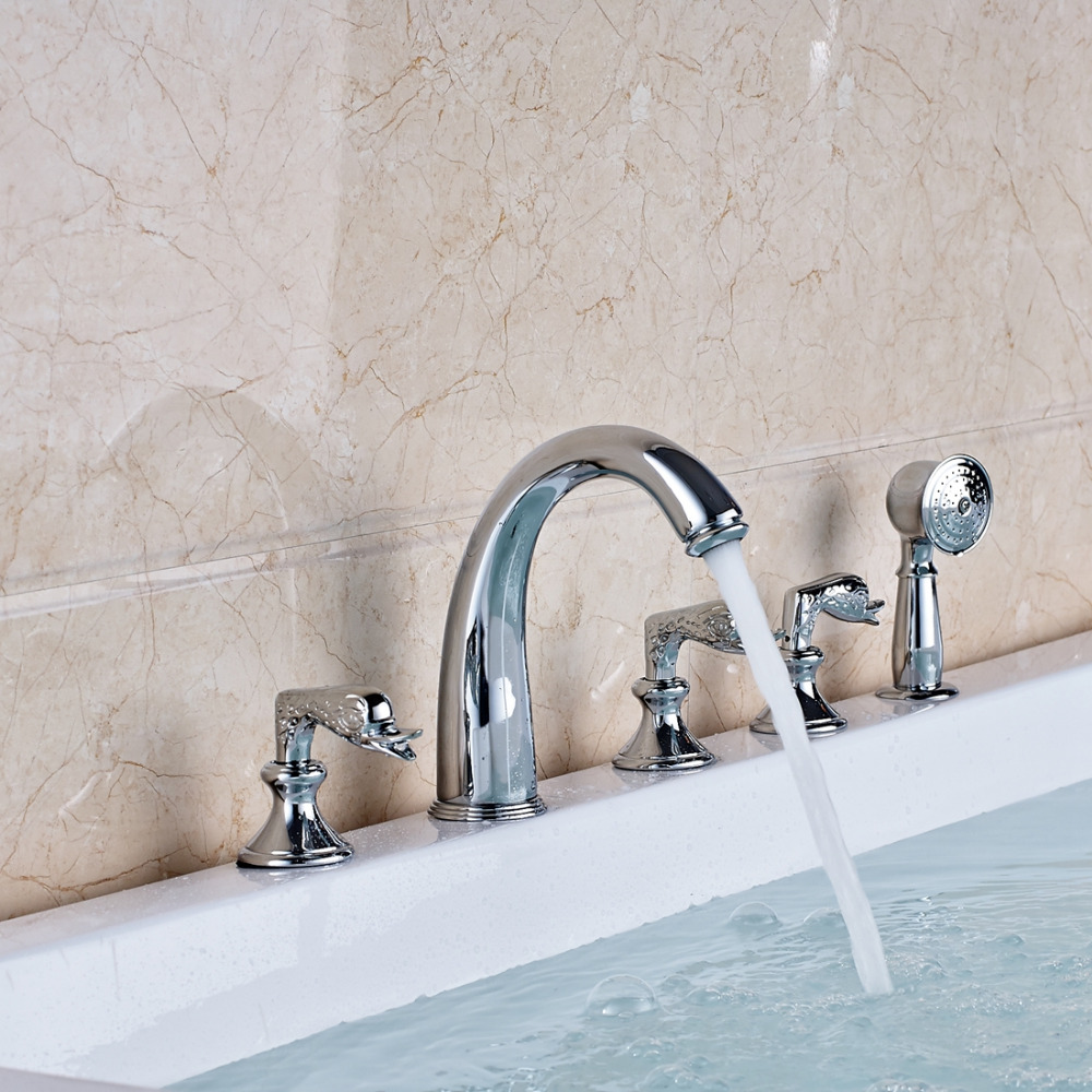 Chrome Swan Handles Bathtub Faucet 5 PCS Mixer Tap W/ Brass Hand Shower Sprayer sognare new wall mounted bathroom bath shower faucet with handheld shower head chrome finish shower faucet set mixer tap d5205