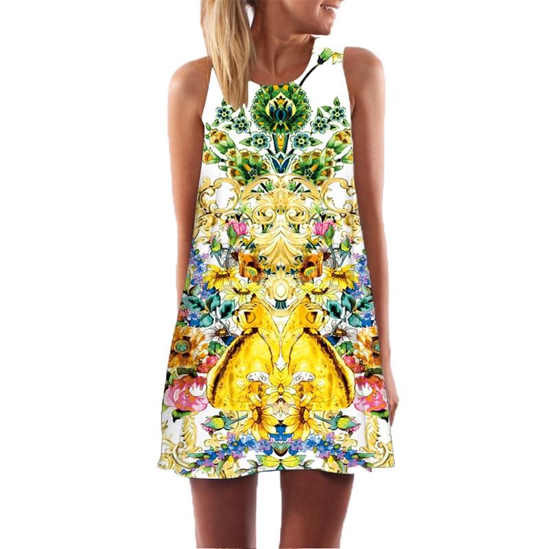 diseos de estilo bohemio floral print vintage dress summer beach boho sin mangas fuera del hombro ms tamao ropa de mujer