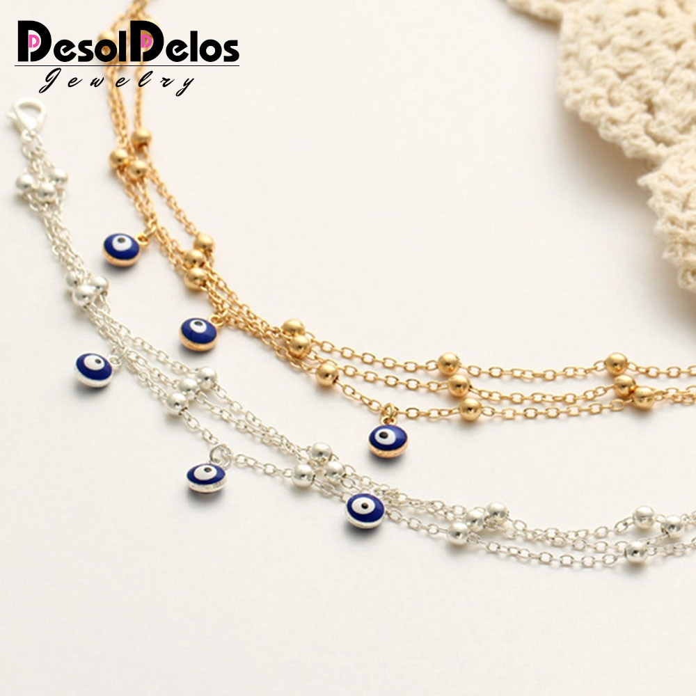 New Bohemian Anklets For Women Turkish Blue Eyes Pendant Foot Bracelet Beads Chain Beach Anklet halhal ayak zinciri cavigliera in Anklets from Jewelry Accessories