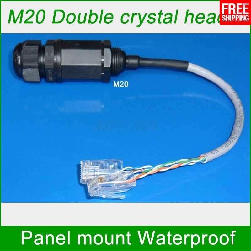 M20 RJ45 Double crystal head waterproof connector RJ45 socket with DC Power supply Signal Telecom Interface Monitoring system