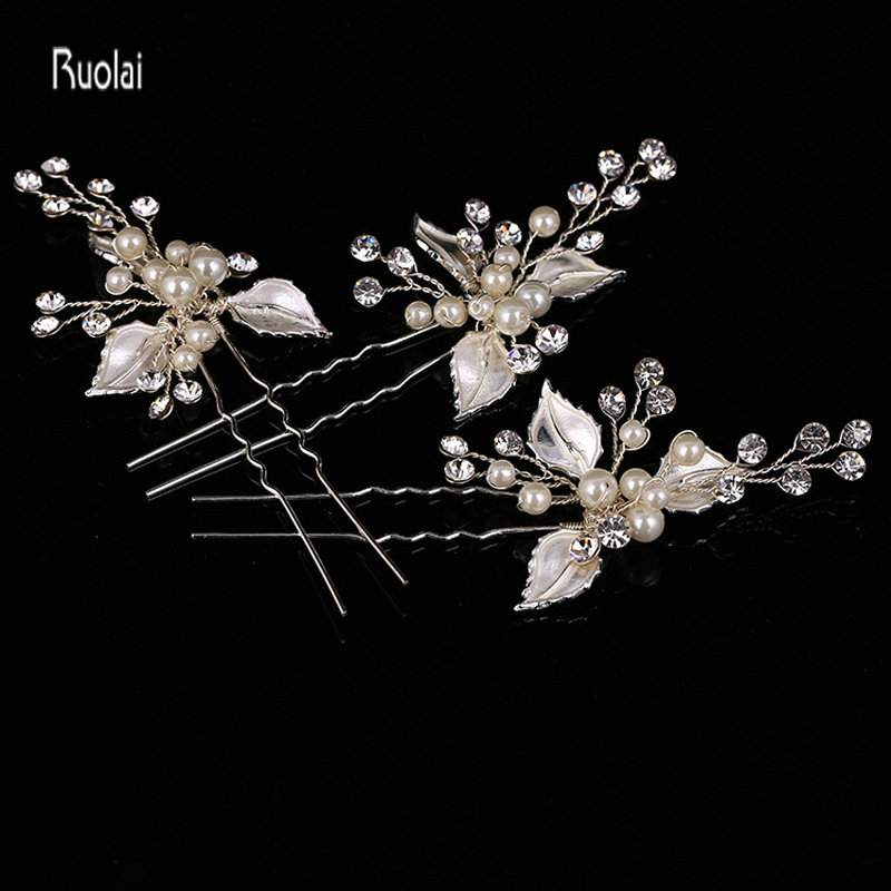 2017 Hot Sale Cheap Gold And Silver Leaf Hairpin Pearl Hand Made Hair Wedding Accessories