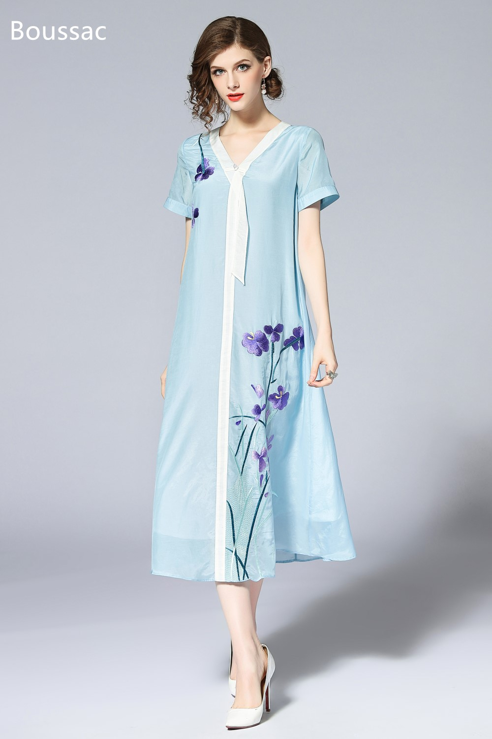Free shipping Summer original design A Version Chinese style Hit color flower Embroidered big size dress for women