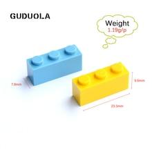 Guduola 1×3 высокого кирпич части строительные блоки игрушка совместимы с legoing игрушки Дети DIY логотип массового несколько цветов 83 шт./компл.