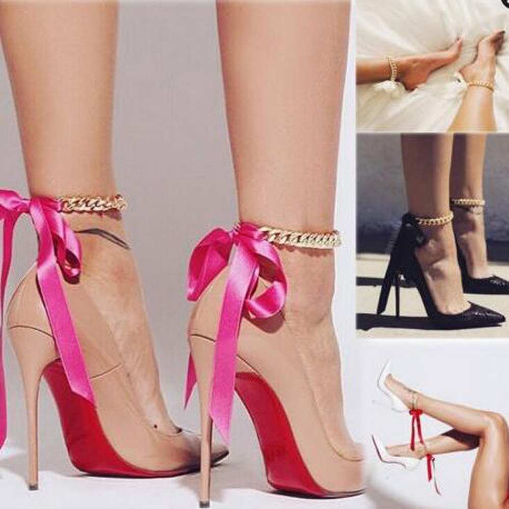 1Pc Punk Style Thick Chain Long Ribbons Beach Ankle -3128