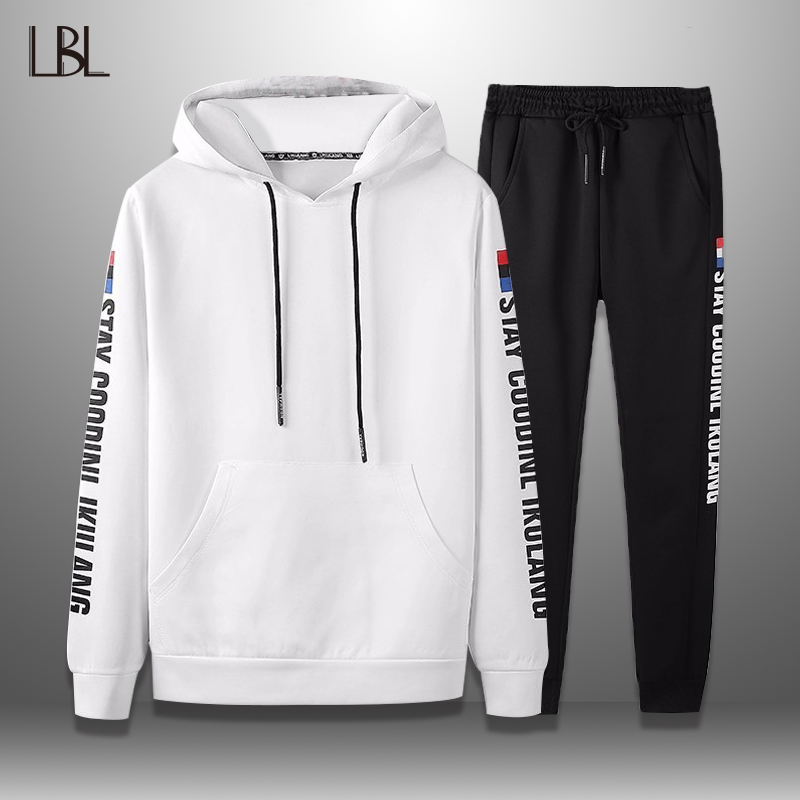 LBL Casual Hoodie Set Men 2019 Spring Autumn Long Sleeve Mens Tracksuit Streetwear Two Pieces Sets Male Hoody + Pants Suit Man