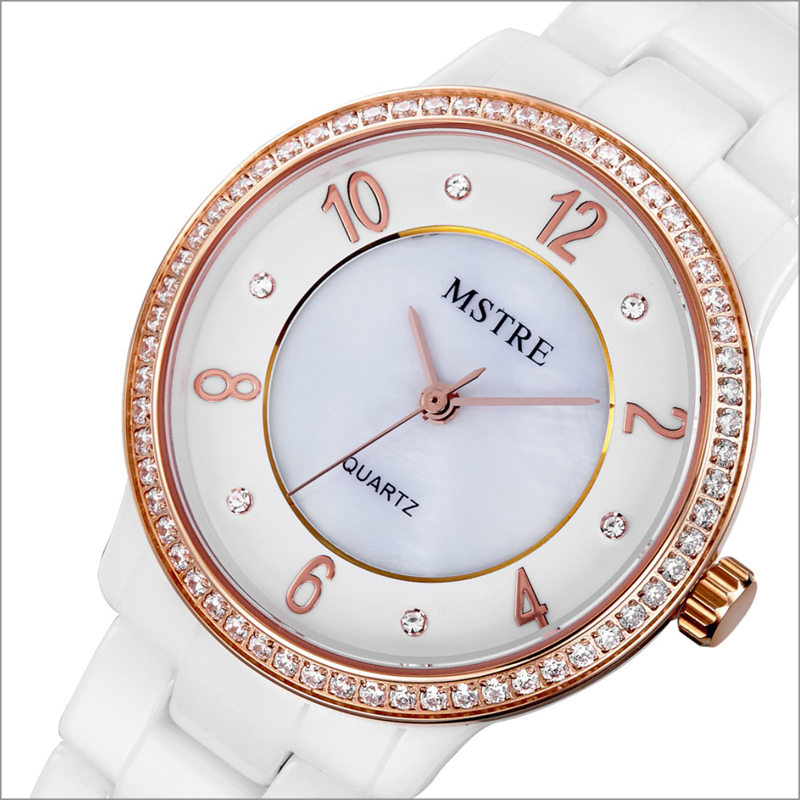 Brand Deluxe Women's Analog Watch Japan Quartz Rhinestone Ceramic Band/Case Sapphire Crystal Wristwatch 3ATM Water Resistance deluxe ailuo men auto self wind mechanical analog pointer 5atm waterproof rhinestone business watch sapphire crystal wristwatch