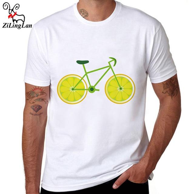 c5f836846222 ZiLingLan Lemon Bikes Print Slim Short Sleeve Cotton Fashion Men T-shirt  Mens T Shirt Summer O-neck Casual Men Tees US EUR Size