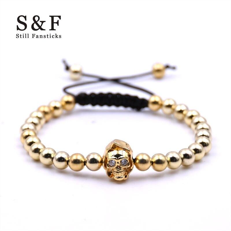 Skull Stainless Steel 6mm Bead Bracelet Men Jewelry Bracelets For Women Pulseira Masculina Feminina Bileklik Bijoux bracelete