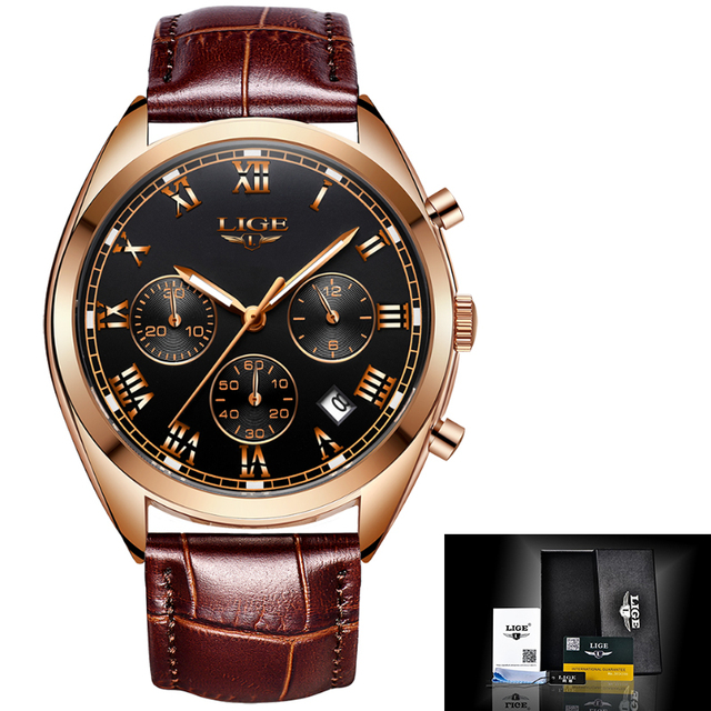 Luxury Waterproof 24 Hour Date Male Leather Relogio Masculino Sports Watch 3