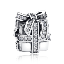 Surprise Gift,Real 925 Sterling Silver With Clear CZ Present Box Charms Fit pandora Bracelet DIY Jewelry Making Accessories