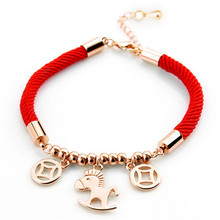 Drop shipping Red rope animal pendant charm bracelets Bangles jewelry fashion bracelets women Pulseras