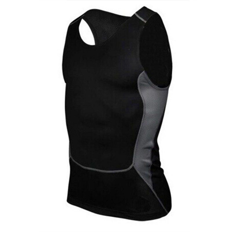 Men's Quick Dry Fitness GYM Base Layer Top Compression Sleeveless Breathable Sports Tight Shirts Hot Drop Shipping wosawe men compression tights cycling base layer running fitness workout gym clothes long johns sports pant jersey suit