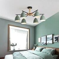 Гостиная Потолочная люстра многоцветный абажур из массива дерева скандинавский стиль люстра ресторан кухня спальня лампа